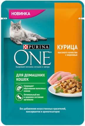 Влажный корм для кошек Purina One, для живущих дома, с курицей и морковью, 26шт по 75г