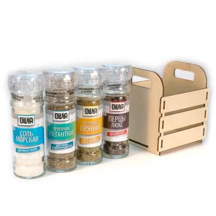Набор №15 Divia collection соль морская-ароматная-пряная-перцы люкс-деревянная коробочка