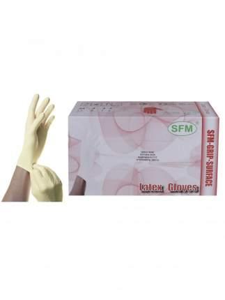 Перчатки SFM Hospital Products латексные диагностические 50 пар GRIP SURFACE M белый