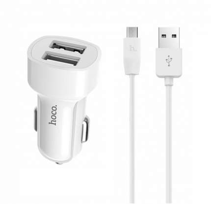 Автомобильное зарядное устройство HOCO Z2A Two-Port Car Charger Micro Cable 2*USB 2,4A