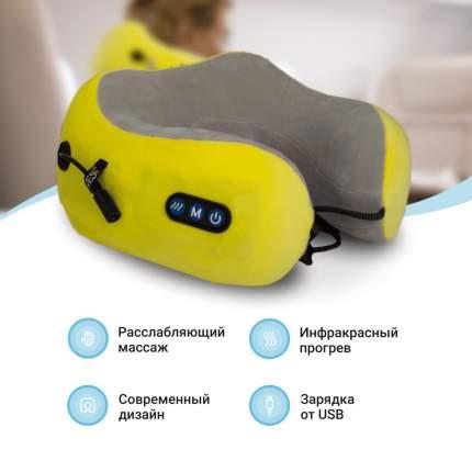 Массажная подушка uTravel , роликовый массаж, прогрев, автоотключение, GESS-136 yellow