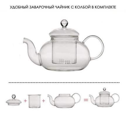 Заварочный чайник из боросиликатного стекла, 800 мл, прозрачный, MARMA  MM-TPT-01