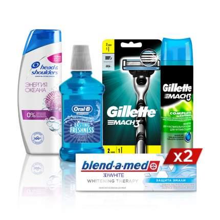 Набор мужской: бритва, гель д/бритья, шампунь, товары для полости рта