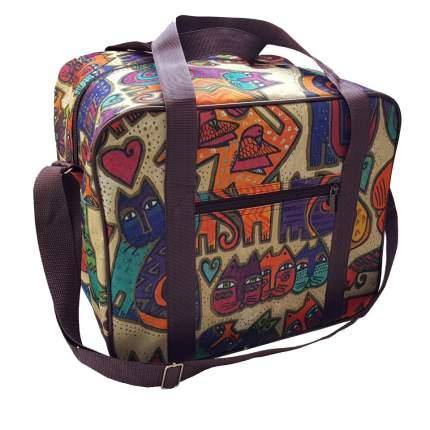 Дорожная сумка Pobedabags Кошки бордо 36 x 30 x 27 см
