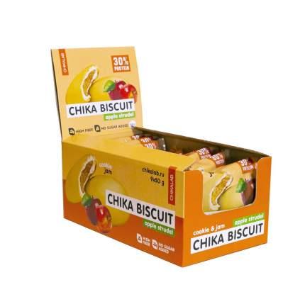 Протеиновое печенье Bombbar CHIKALAB, Chika Biscuit (яблочный штрудель), 9 шт по 50г