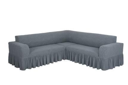 """Чехол на угловой диван с оборкой Venera """"Жаккард"""", цвет серый"""