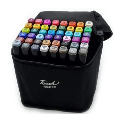 Набор профессиональных двухсторонних маркеров для скетчинга 48 цветов в чехле