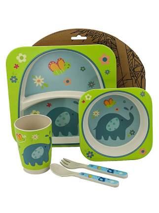 Набор детской посуды Eco-Baby Слоник Зелёный