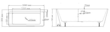 Акриловая ванна Lagard VELA Treasure Silver 168х80 см