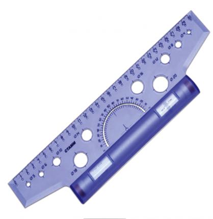 Рейсшина пластиковая, металлический ролик, 30 см|2