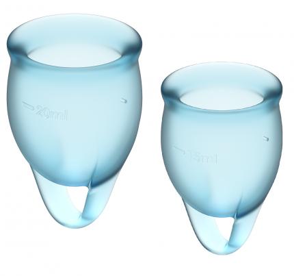 Менструальные чаши Satisfyer Feel Confident, 2 шт в наборе, голубой