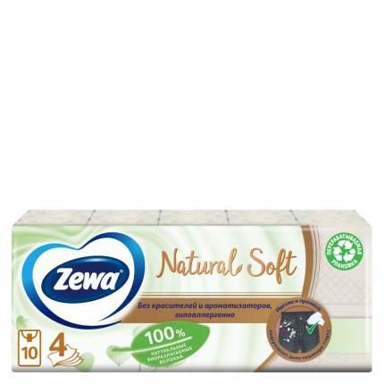 Платочки бумажные носовые  Zewa Natural Sofе, 4 слоя , 9шт.* 10