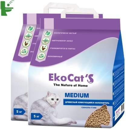 Комкующийся наполнитель для кошек Eko Cat's древесный, 5 кг, 10 л, 2шт