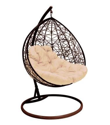Подвесное кресло M-Group 1832 для двоих Коричневое с бежевой подушкой