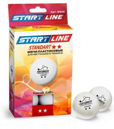 Мячи для настольного тенниса Start Line Standart 2*, белый, 6 шт.
