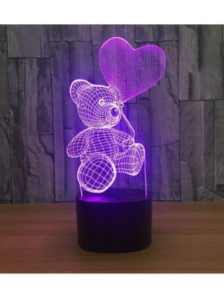 Светильник 3D Мишка с сердцем Style Home