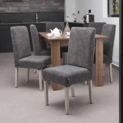Чехол на стул плюшевый Venera, цвет тёмно-серый, 1 предмет