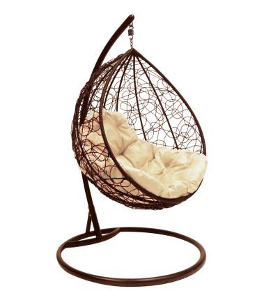 Подвесное кресло M-Group 1893 капля Коричневое с бежевой подушкой