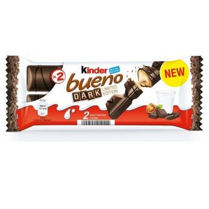 Вафли Kinder bueno покрытые темным шоколадом с молочно-ореховой начинкой, 43 г