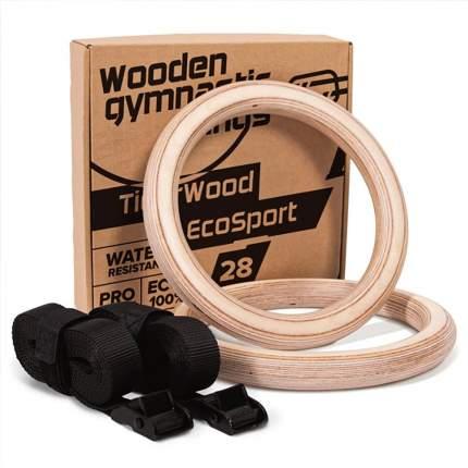 Спортивные гимнастические кольца из дерева TigerWood EcoSport 28