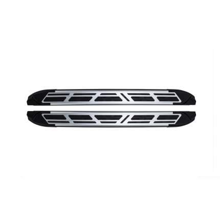 Пороги площадки Can Otomotiv на Тойота Хайлендер 3 2014-2020 №10 Corund Silver, алюм. TOHI
