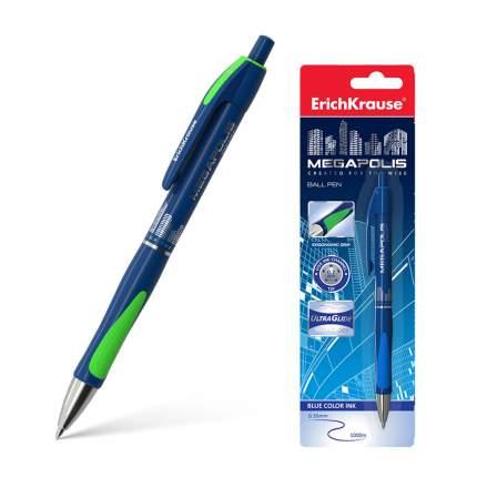 Ручка шариковая автоматическая ErichKrause® MEGAPOLIS Concept, синий блистер 1 шт