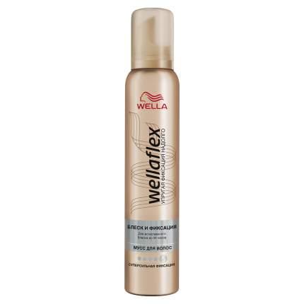 Мусс для укладки волос Wella Wellaflex Блеск и суперсильная фиксация, 200мл