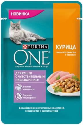 Влажный корм для кошек Purina One для чувствительного пищеварения с курицей и морковью 75г