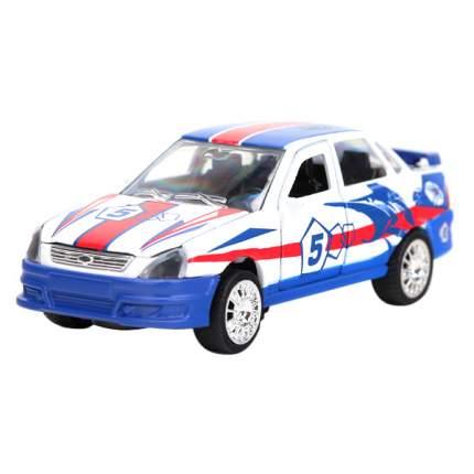 Машина Технопарк инерционная, металлическая Лада-Приора гоночная 1:43, со светом и звуком