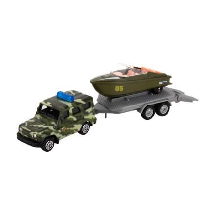 Набор Технопарк вооруженные силы, металл. УАЗ с лодкой на прицепе