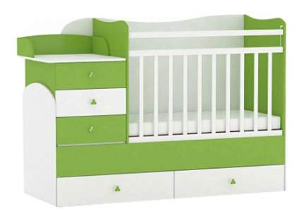 Кровать-трансформер Фея 1400 белая/лайм