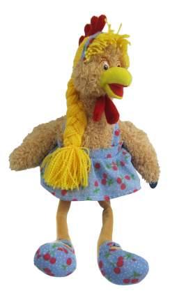 Мягкая игрушка Teddy Курочка с косичкой в платье, 15x27x20 см