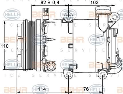 Компрессор кондиционера автомобильный Hella 8FK 351 113-461