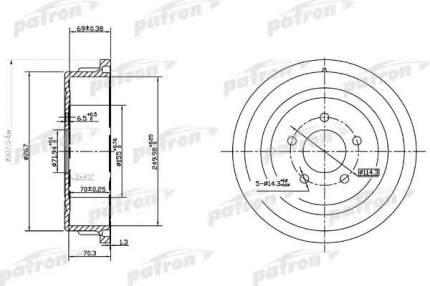Барабан тормозной PATRON PDR1482