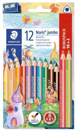 Карандаши цветные Staedtler Noris Club Jumbo 128 10+2 цвета с точилкой