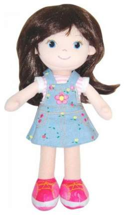 Кукла Creation Manufactory Брюнетка в синем платье мягконабивная, 32 см
