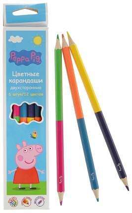 Карандаши цветные Росмэн Peppa Pig 6 карандашей