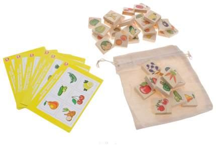 """Лото Русские деревянные игрушки """"Овощи-фрукты-ягоды"""" 36 деревянных фишек+6 карточек"""