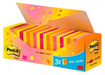 Блоки самоклеящиеся Post-it 76x76 мм, Розовый/Оранжевый/Желтый