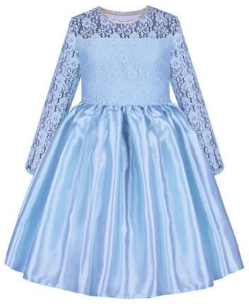 Голубое нарядное платье Радуга Дети  для девочки с гипюром р.122