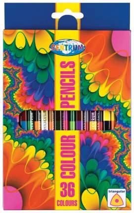 Карандаши цветные 36 цветов двусторонние 18 штук деревянные