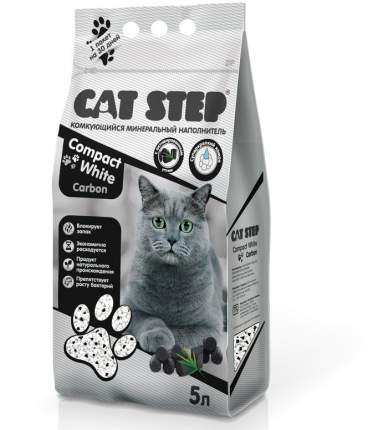 Комкующийся наполнитель для кошек Cat Step Compact White Carbon бентонитовый, 4.2 кг, 5 л