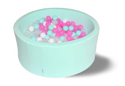 Сухой игровой бассейн Клубничное мороженное 40см с 200 шариками: мят, роз, бел, прозр