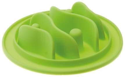 Интерактивная миска для собак V.I.Pet, силикон, зеленый, 15 см