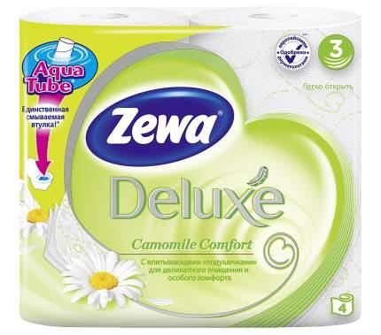 Туалетная бумага Zewa Deluxe Ромашка, 3 слоя, 4 рулона
