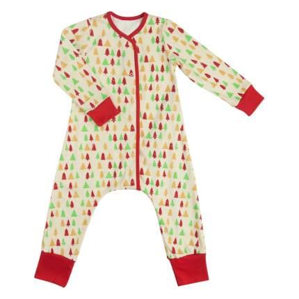 Пижама детская Bambinizon на кнопках Елочки ПНК-ЕЛ р.74