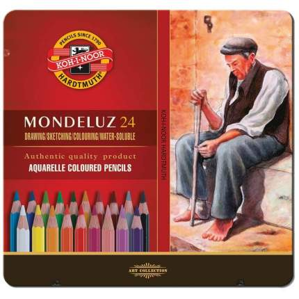 """Набор карандашей акварельных худож, """"Mondeluz"""" KOH-I-NOOR, 24цв, (метал, коробк"""