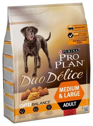 Сухой корм для собак PRO PLAN Duo Delice Medium & Large Adult, говядина и рис, 2,5кг