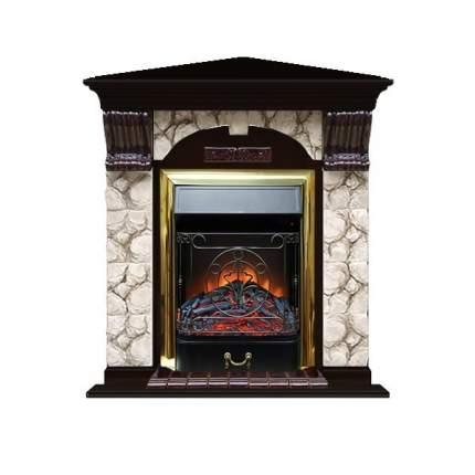 Камин электрический Glenrich Арочный угловой (Magestic BL,BR) камень-Карелия/цвет-Венге
