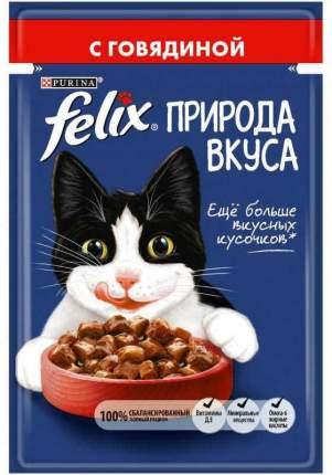 Влажный корм для кошек Felix Природа вкуса, говядина, 24шт, 85г